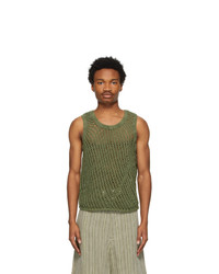 Nicholas Daley Green Knit Gart Dyed Vest