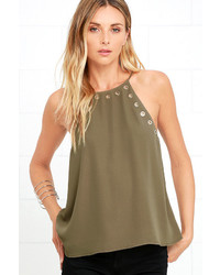 LuLu*s Have We Grommet Olive Green Tank Top