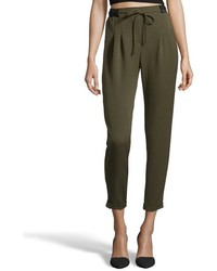 Wyatt Black Stretch Cotton Blend Pleated Front Trousers