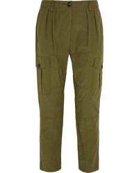 Burberry Brit Pleated Cotton Blend Tapered Pants Army Green