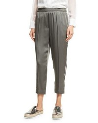 Brunello Cucinelli Satin Pull On Ankle Pants Olive