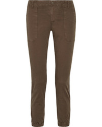 Vince Cotton Blend Twill Tapered Pants Army Green