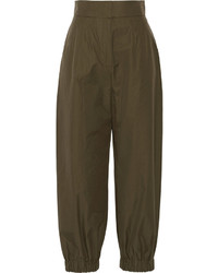 Cotton poplin tapered pants army green medium 625683