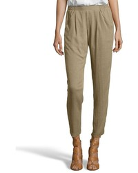 Greylin Olive Green Tweed Cecil Pleated Front Cropped Pants
