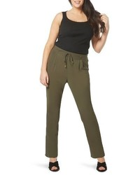 Evans Plus Size Tapered Stretch Crepe Trousers