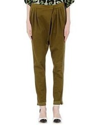 Givenchy Twill Asymmetric Fly Trousers Green
