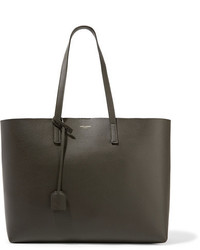Saint Laurent Shopper Large Textured Leather Tote Army Green