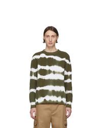 MSGM Green Tie Dye Stripes Sweater