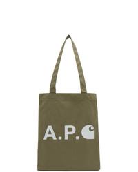 A.P.C. Khaki Carhartt Wip Edition Logo Tote