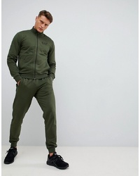 EA7 Train Core Id Cotton Zip Thru Logo Tracksuit Set In Khaki