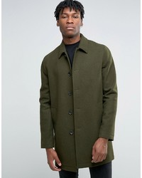 Asos Wool Mix Trench Coat In Khaki