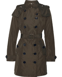 Burberry Balmoral Packaway Hooded Shell Trench Coat Army Green