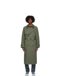 Kenzo Green Cotton Trench Coat