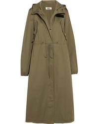 Hooded cotton gabardine trench coat army green medium 1196549