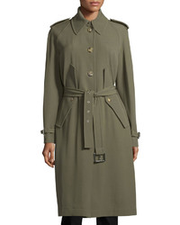 Michael Kors Michl Kors Collection Button Front Belted Trench Coat Juniper