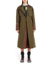 MSGM Tartan Detail Trench Coat