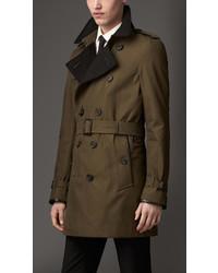 Burberry Wool Cashmere Detail Gabardine Trench Coat