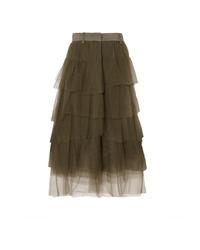 Brunello Cucinelli Tiered Med Tulle Midi Skirt