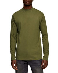 Topman Mock Neck Long Sleeve T Shirt