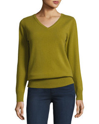 Cashmere collection relaxed v neck cashmere sweater plus size medium 4353436