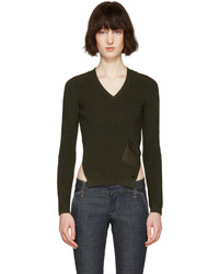 Dsquared2 Green V Neck Pocket Sweater