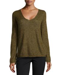 Heritage v neck brush knit sweater olive medium 82985