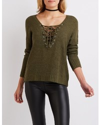 Charlotte Russe Lace Up Pullover Sweater