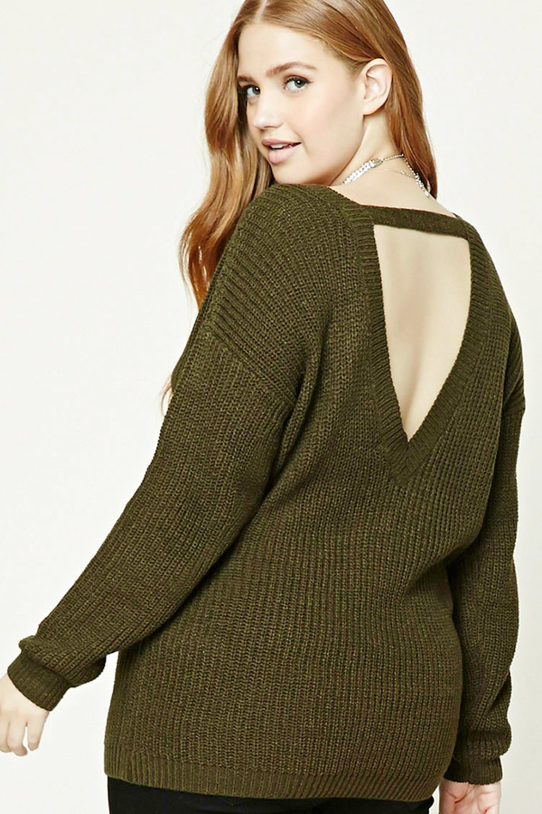 b63e7b2ee3f50e ... Forever 21 Plus Size Ribbed V Neck Sweater ...