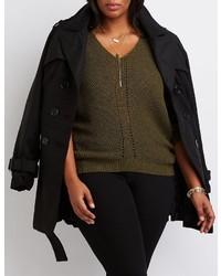 Charlotte Russe Plus Size V Neck Pointelle Sweater