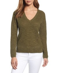 V neck organic linen cotton sweater medium 4401418
