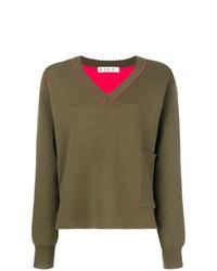 Marni V Neck Pocket Sweater
