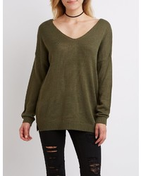 Charlotte Russe V Neck Tunic Sweater