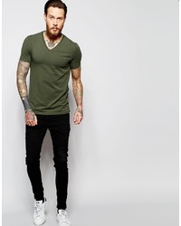 Asos Brand Muscle T Shirt With V Neck In Dark Green 10 Asos