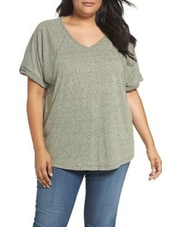 Plus size heathered v neck tee medium 3773213