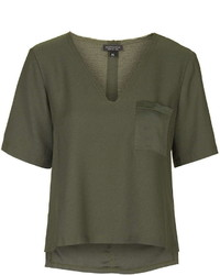 Raw V Neck Tee With Pocket