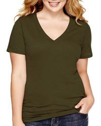 Arizona Short Sleeve V Neck T Shirt Juniors Plus