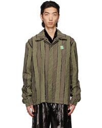 We11done Khaki Striped Shirt Jacket