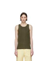 Salvatore Ferragamo Black And Beige Rib Knit Tank Top