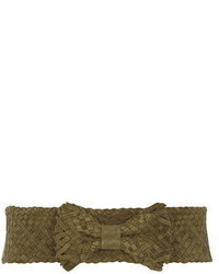 Dorothy Perkins Green Suede Braided Bow Waist Belt