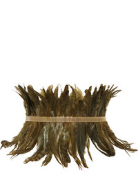Rosantica Selva Gold Tone Feather Waist Belt Green