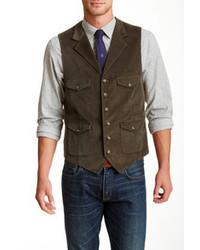 Flynt Winfield Dark Olive Corduroy Six Button Notch Lapel Vest