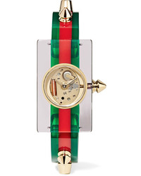 Gucci Plexiglass And Gold Tone Watch Green