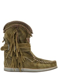 Olive Wedge Ankle Boots