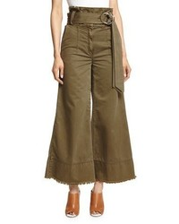 Cinq à Sept Cinq A Sept Serge Belted Wide Leg Cropped Trousers Olive