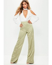Missguided Tall Green Satin Wide Leg Trousers