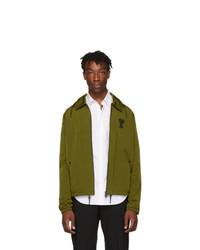AMI Alexandre Mattiussi Green Hooded Zip Up Jacket