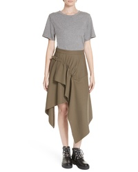 3.1 Phillip Lim Mixed Media Wool Cotton T Shirt Dress