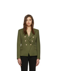 Balmain Khaki Wool Double Breasted Blazer