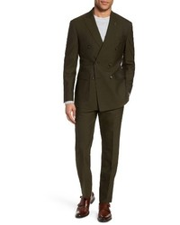 Michael Bastian Michl Bastian Classic Fit Double Breasted Solid Wool Suit