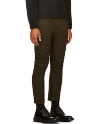 Haider Ackermann Olive Green Wool Biker Trousers | Where to buy ...